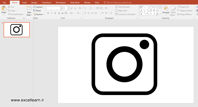 تصویر 9- طراحی لوگوی اینستاگرام در نرم افزار پاورپوینت