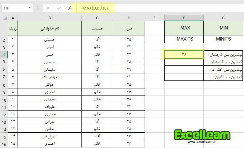 معرفی و کاربرد توابع MAXIFS , MINIFS در اکسل 2019