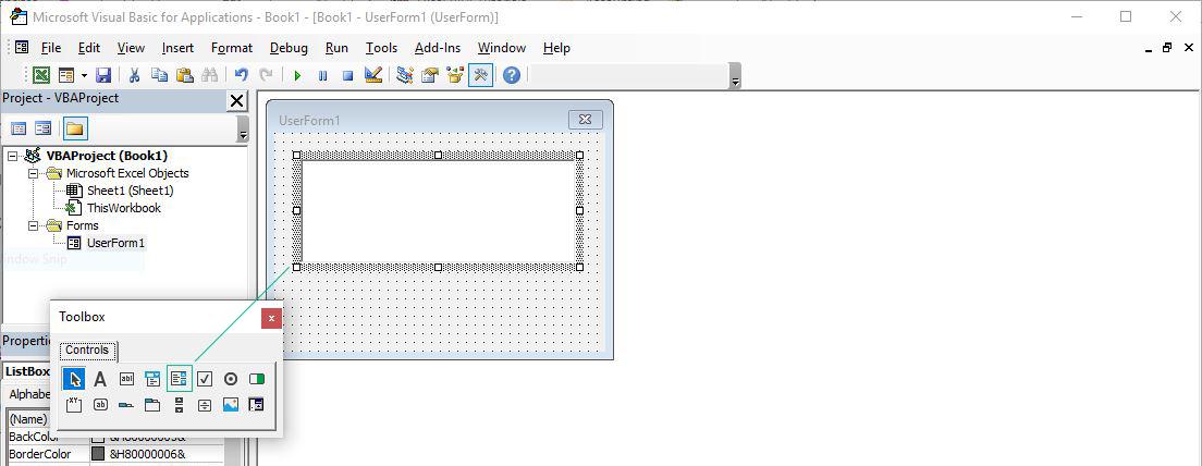 لیست باکس (Listbox) در محیط VBE اکسل