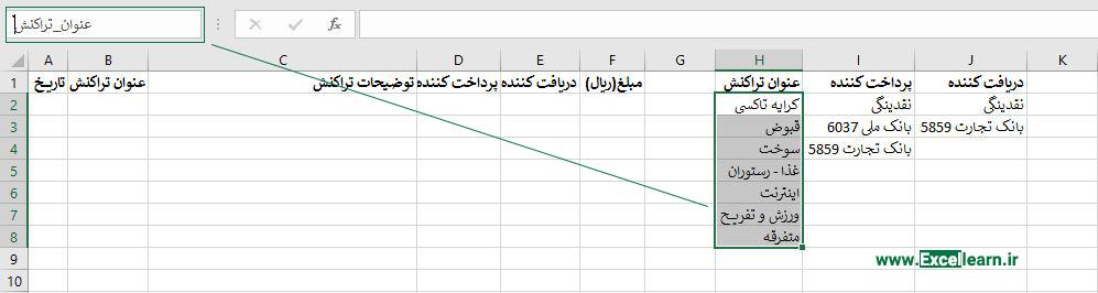ایجاد لیست کشویی در Data validation