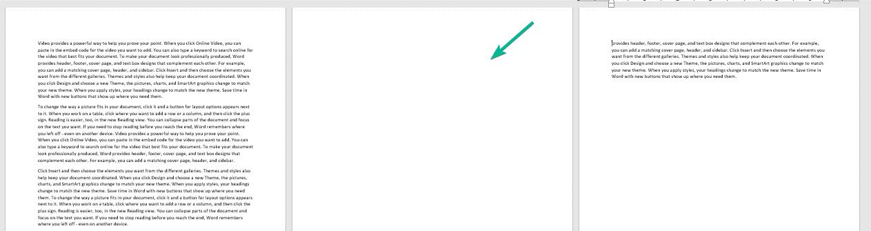 روش اول در حذف یک صفحه خالی در ورد 2019
