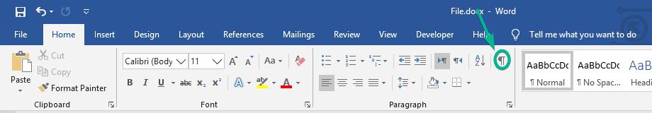 روش دوم در حذف یک صفحه خالی در ورد 2019