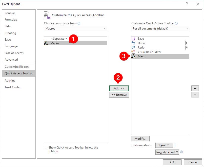نحوه افزودن ماکرو به نوار Quick Access Toolbar