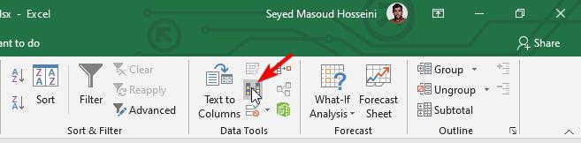 ابزار Remove Duplicates از سربرگ Data
