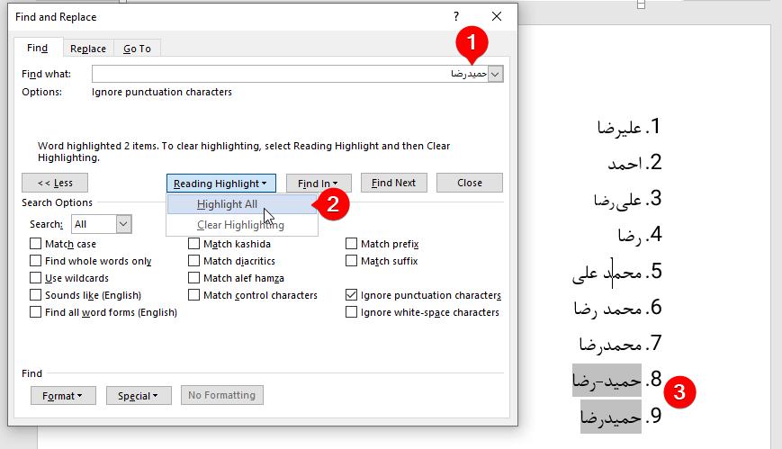 گزینه Ignore Punctuation characters در find ورد
