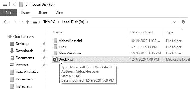 نمایش نمونه ای از فایل اکسل