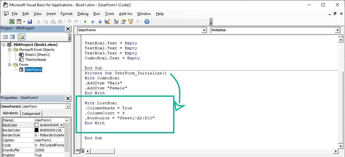 کدنویسی لیست باکس(Listbox) در یوزرفرم