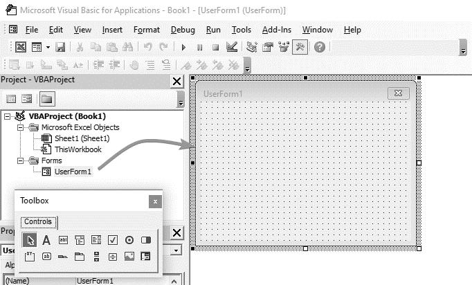ایجاد یوزرفرم در محیط وی بی ای اکسل
