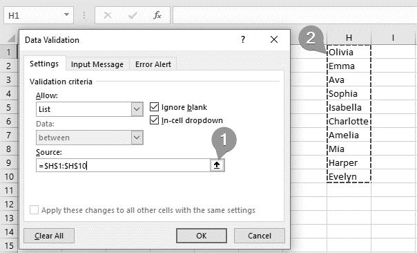 استفاده از محدوده در Data Validation اکسل