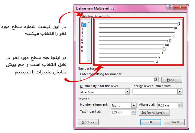 مشکل زبان فارسی در لیست های چندسطحی ورد